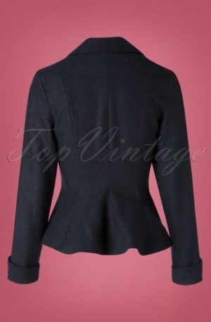 50s Micheline Pitt X Unique Vintage Rachael Suit Jacket in Navy Tweed