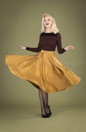 50s Miracles Full Swing Skirt in Gold