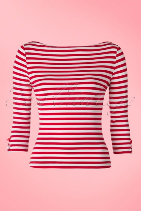 50s Modern Love Stripes Top in White and Red