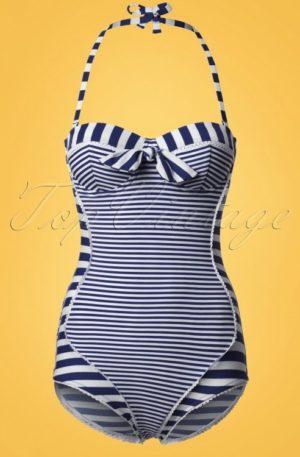 50s Nancy Stripes Halter Swimsuit in Navy and White