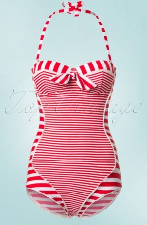 50s Nancy Stripes Halter Swimsuit in Red and White