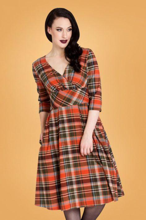 50s Oktober Tartan Swing Dress in Orange