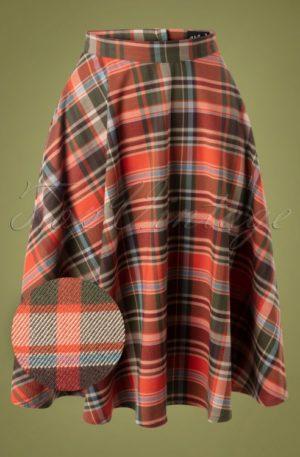 50s Oktober Tartan Swing Skirt in Orange