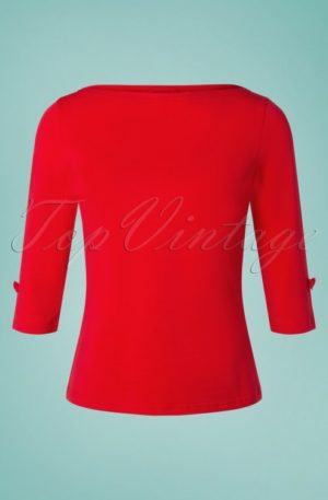 50s Oonagh Top in Lipstick Red