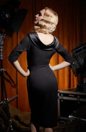 50s Orabelle Lou Pencil Dress in Black