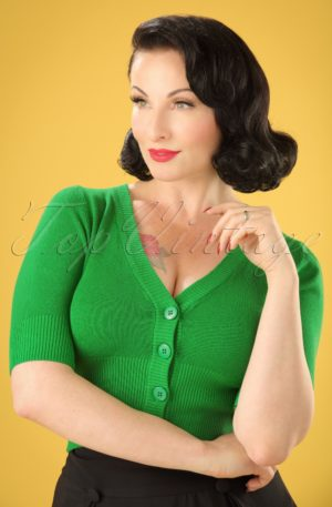 50s Overload Cardigan in Grass Green