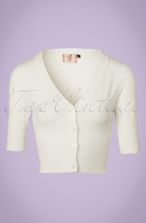 50s Overload Cardigan in Ivory White