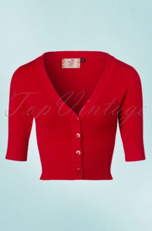 50s Overload Cardigan in Lipstick Red
