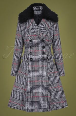 50s Pascale Check Coat in Black and White