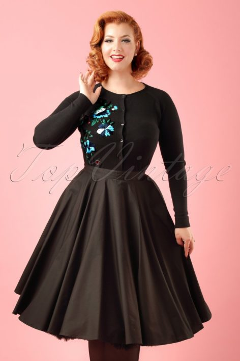 50s Paula Swing Skirt in Black