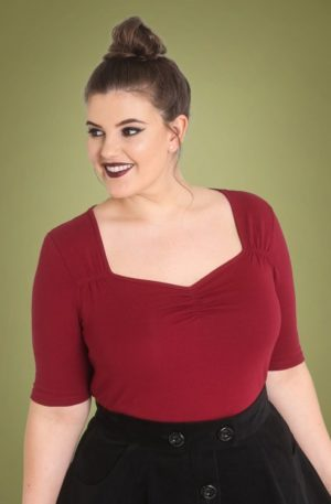 50s Philippa Top in Burgundy