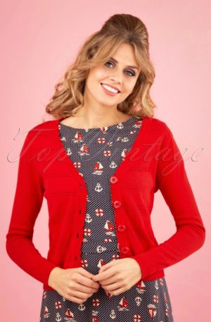 50s Pointelle Cardigan in Lipstick Red