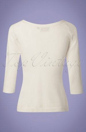 50s Pretty Illusion Top in Off White