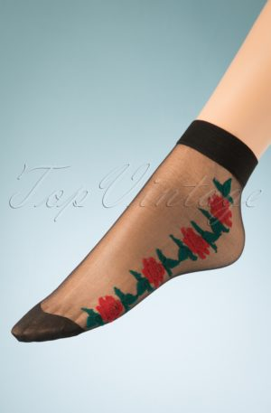 50s Red Rose Socks in Black