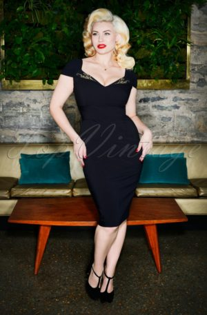 50s Ruby Pencil Dress in Black