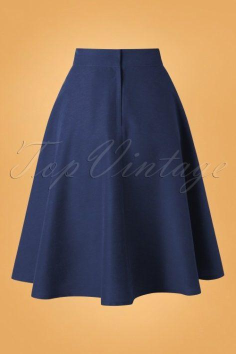 50s Sally Swing Skirt in Navy