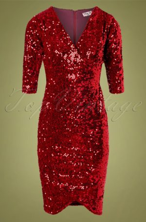 50s Saskia Sequin Pencil Dress in Red Velvet