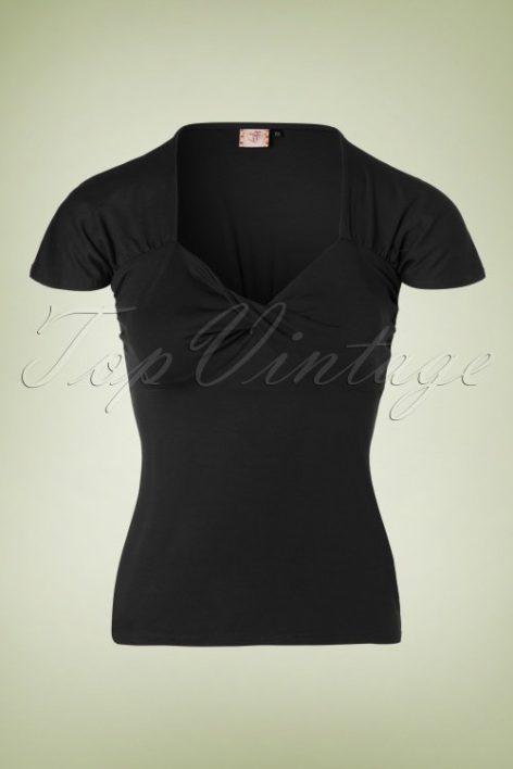 50s She Who Dares Top in Black