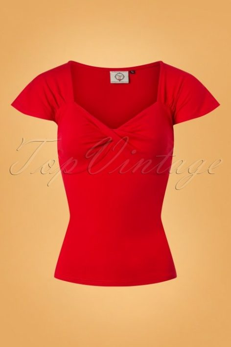 50s She Who Dares Top in Red