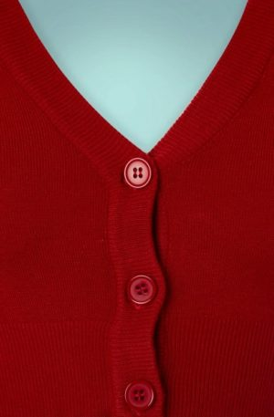 50s Shela Cropped Cardigan in Lipstick Red