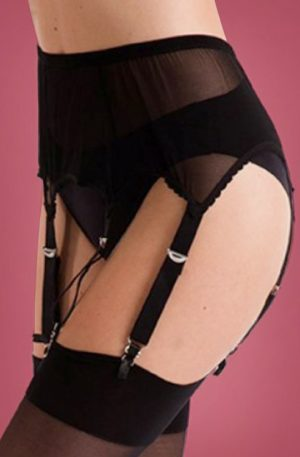 50s Six Strap Suspender Belt in Black