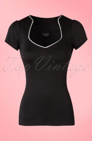 50s Sophia Top in Black and White