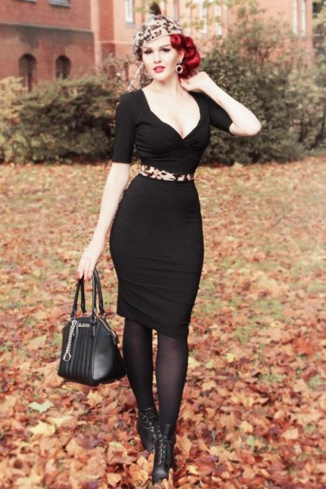 50s Trixie Doll Pencil Dress in Black