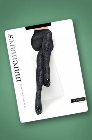50s Velvet Floral Tights in Black