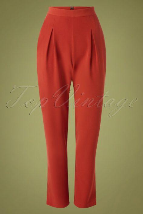 50s Wear Me Everywhere Trousers in Brick Orange
