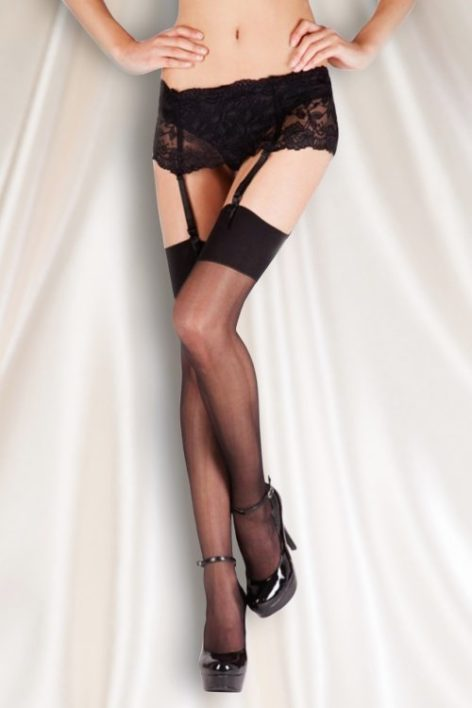 50s Wide Lace Suspender Belt in Black