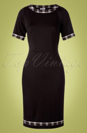 50s Work It Out Check Trim Pencil Dress in Black