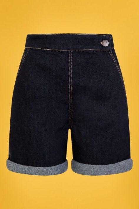 50s Yaz Denim Shorts in Navy