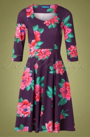 60s Annecy Roses Swing Dress in Purple
