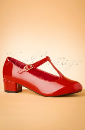 60s Chrissie Patent T-Strap Pumps in Lipstick Red
