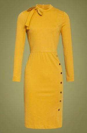 60s Clara Pencil Dress in Mustard