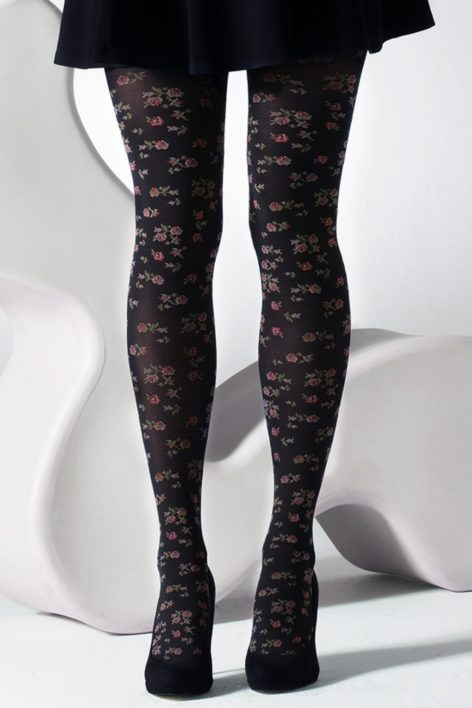 60s Ditsy Flower Jacquard Tights in Black