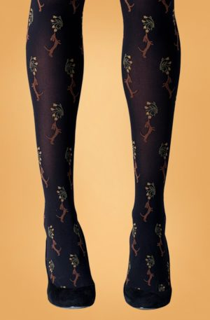 60s Dog and Flower Tights in Black