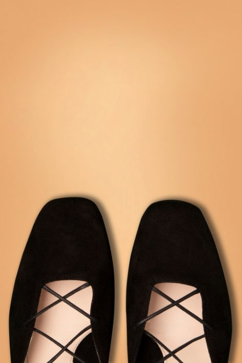 60s Elinor Kid Suede Lace Up Ballerina Pumps in Black