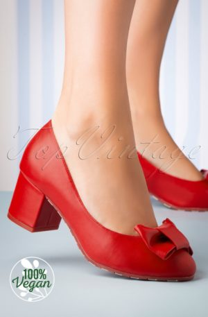 60s Eve Vegan Rosy Block Heel Pumps in Red