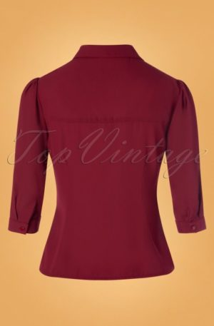 60s Foxy Fox Blouse in Burgundy
