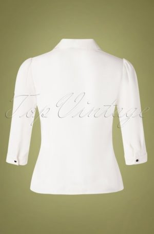 60s Foxy Fox Blouse in Ivory White