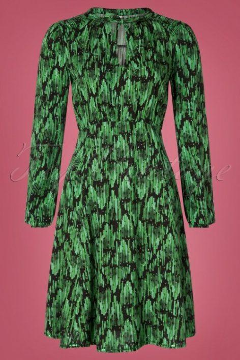 60s Greta In Love Robe in Emerald Palace Green
