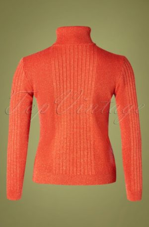 60s Let's Roll Knit Jumper in Coral Red Lurex