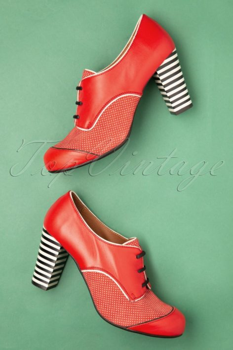60s Listas Mad Leather Booties in Red