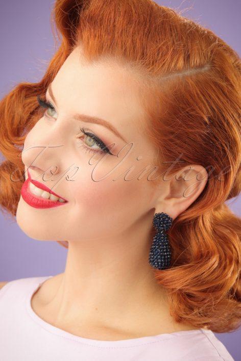 60s Marion Beads Earrings in Night Blue