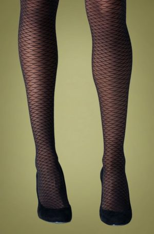 60s Mermaid Tights in Black