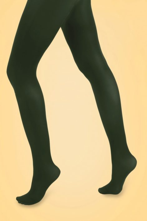 60s Opaque Tights in Forest Green