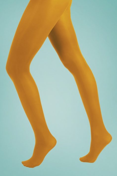 60s Opaque Tights in Mustard