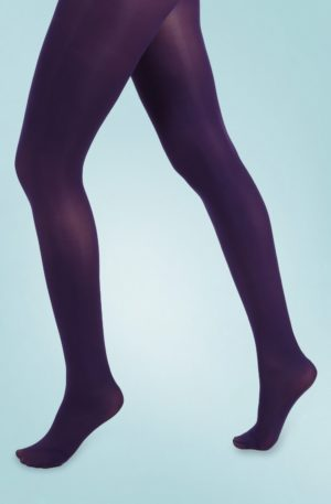 60s Opaque Tights in Purple