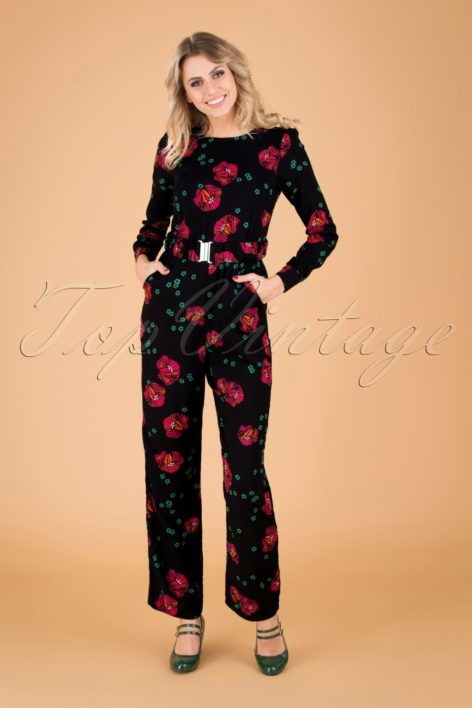 60s Perfect Moments Jumpsuit in Black